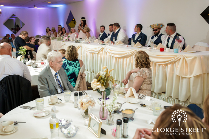 guests enjoying wedding speeches at georgetown centre pittsburgh wedding photo
