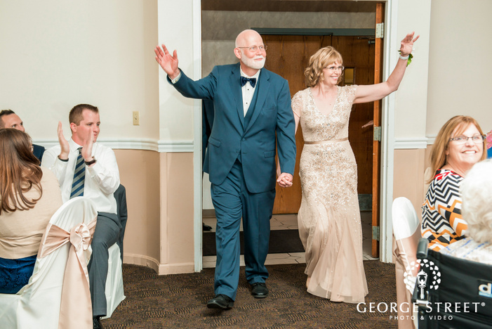 happy parents entrance at georgetown centre pittsburgh wedding photo