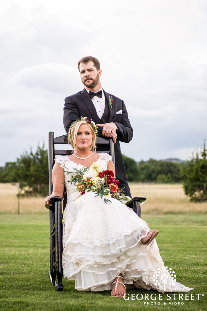 adorable bride and groom on lawn chair wedding photography