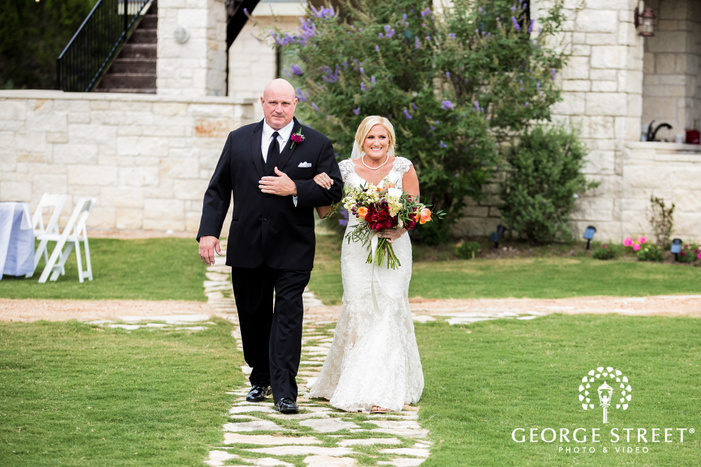 beautiful bride and father walking down the aisle wedding photos